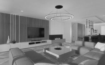 Aranżacja wnętrza domu piętrowego 290 m² w Bydgoszczy