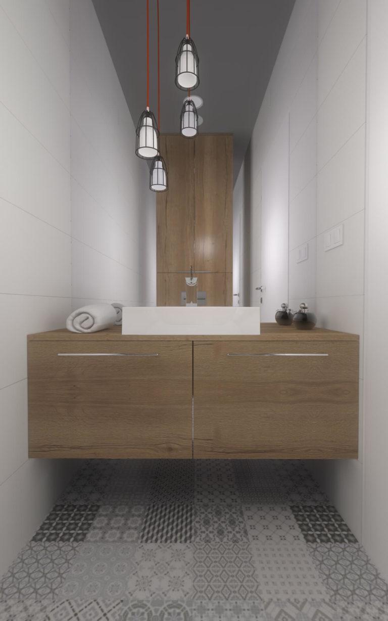 nowoczesna łazienka, drewniana komoda, lustro na całą ścianę