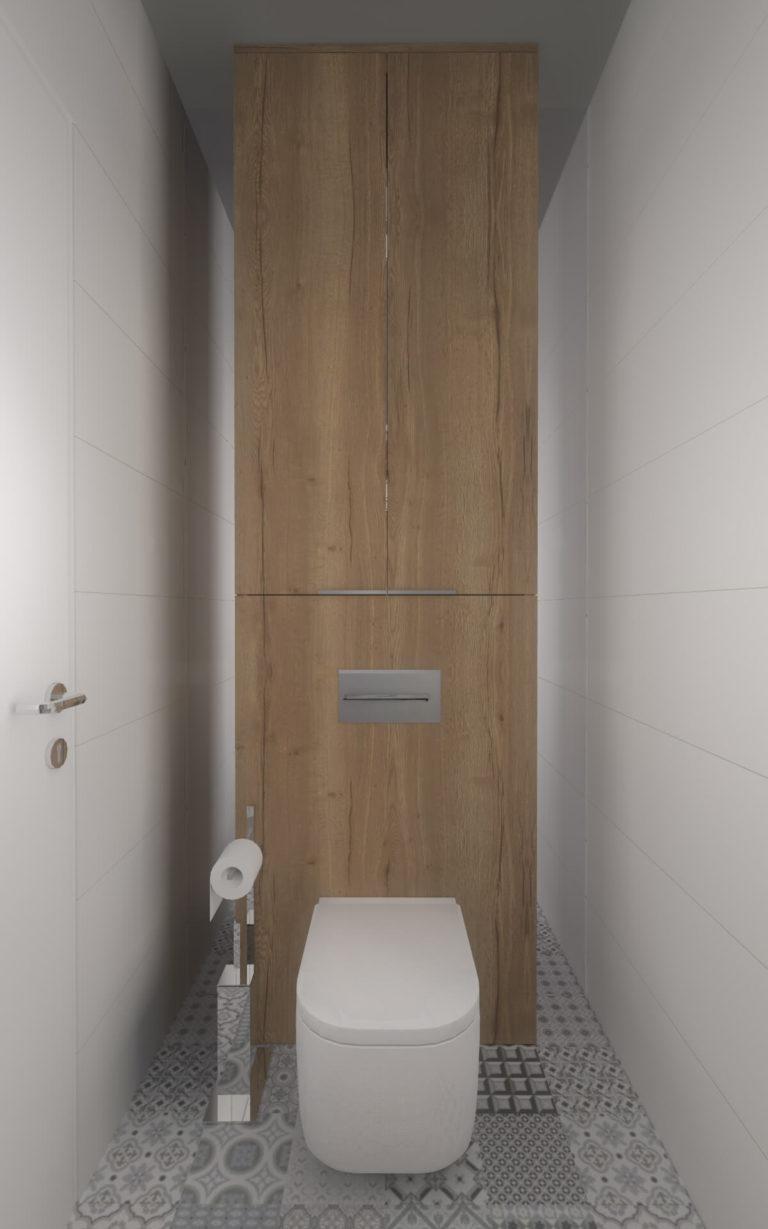 toaleta białe ściany drewno