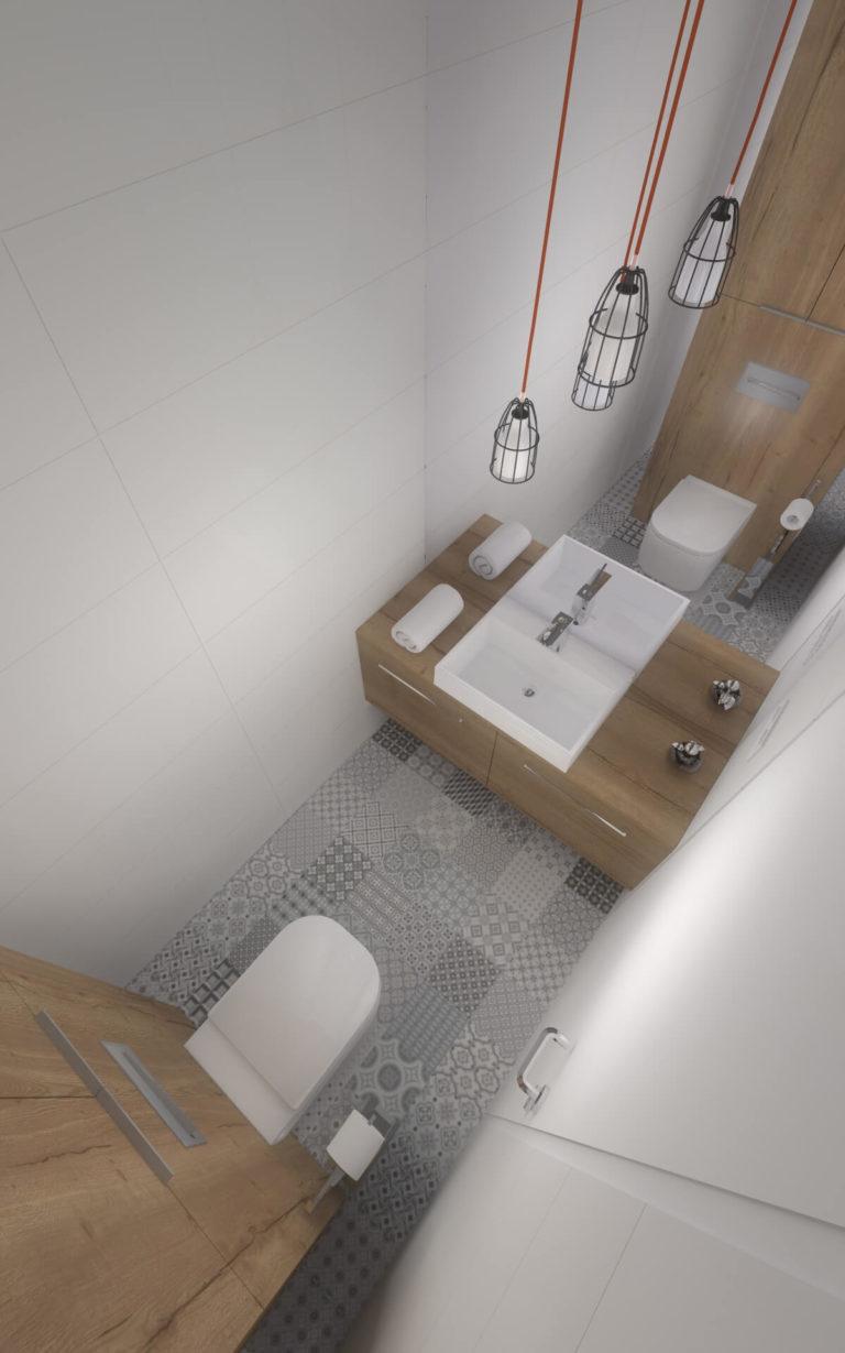 nowoczesna biało-szara łazienka z drewnem