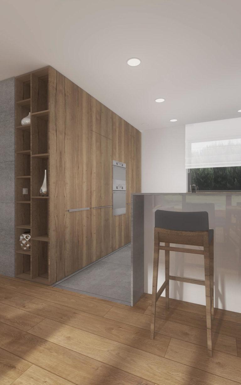 drewniana zabudowa w kuchni