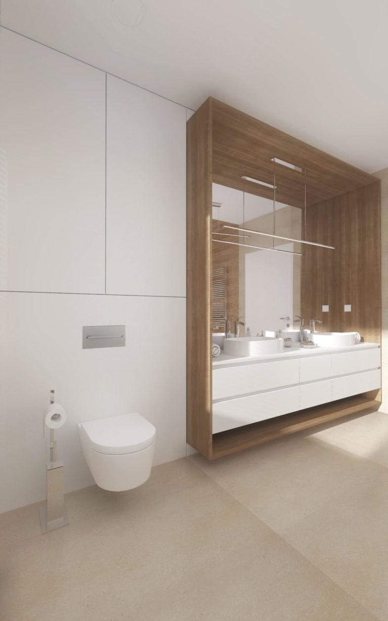 biała łazienka z elementami drewnianymi