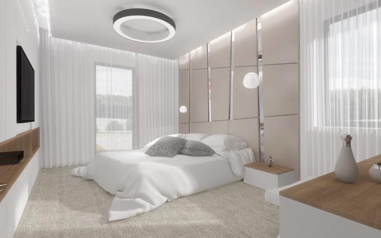 wizualizacja jasnej sypialni