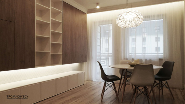 drewniana zabudowa w salonie