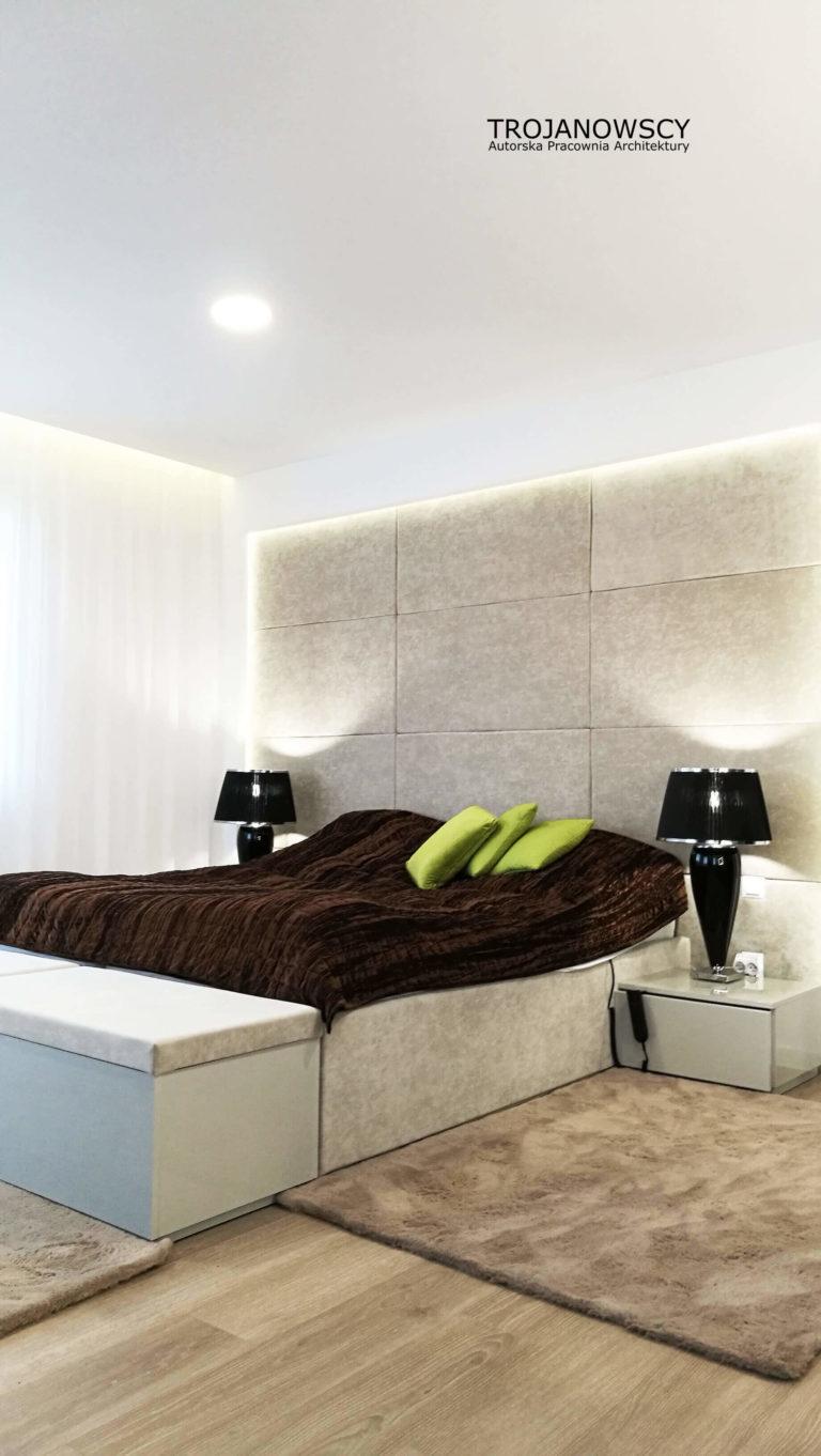 wezgłowie na całą ścianę w sypialni