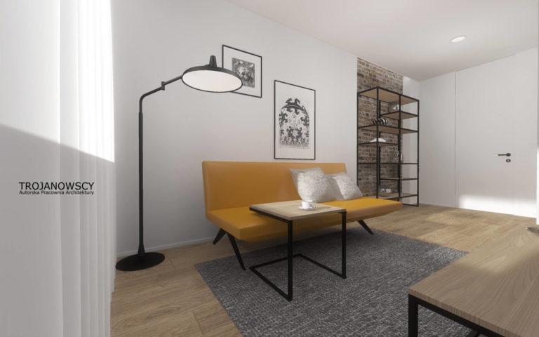 musztardowa sofa