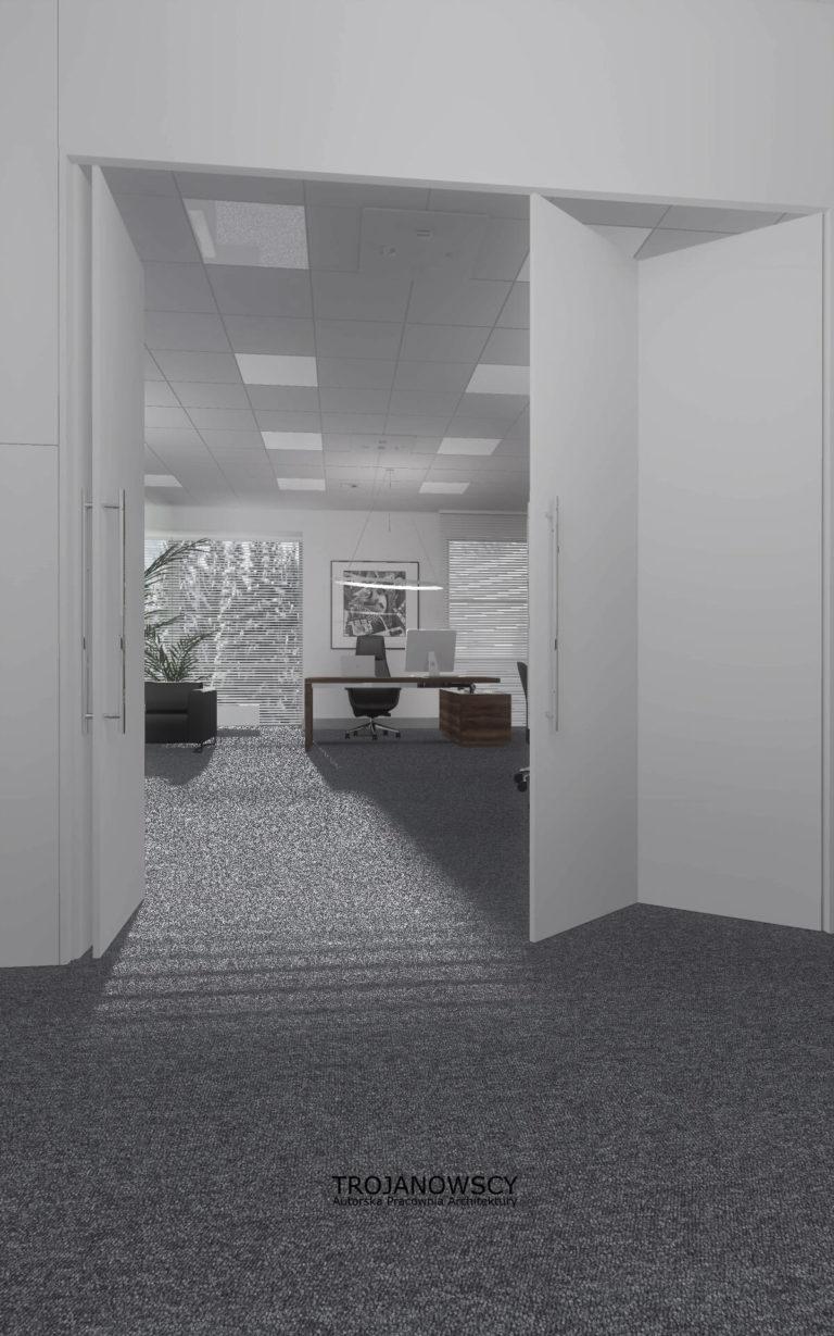 Bydgoszcz biuro białe ściany szara wykładzina