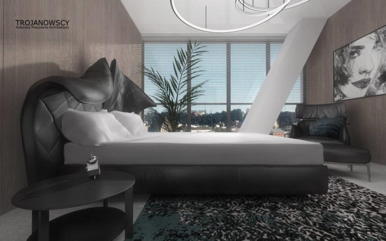 łóżko w apartamencie 150m2