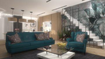 nowoczesna aranżacja salonu w apartamencie