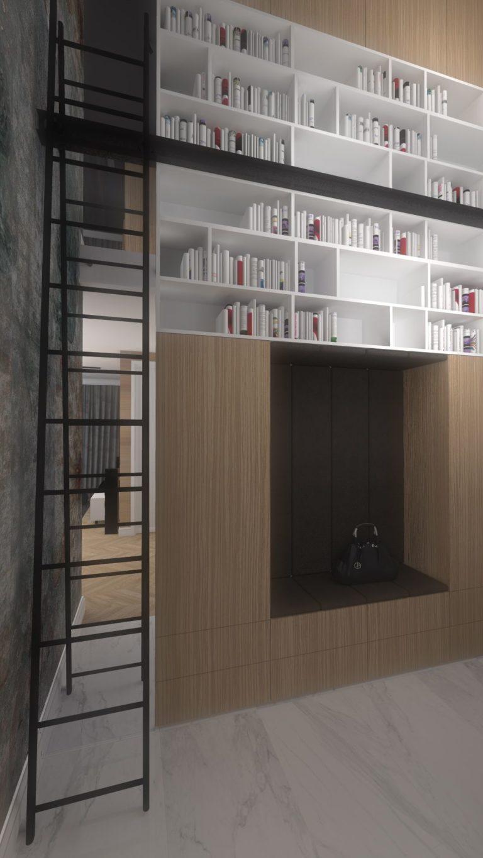 biblioteka w przedpokoju wizualizacja