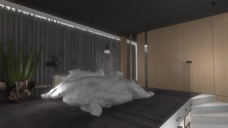 nowoczesna duża sypialnia w kolorze szarym