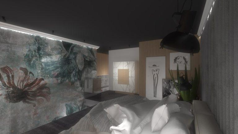 tapeta Avalon włoskiej firmy Tecnografica w sypialni