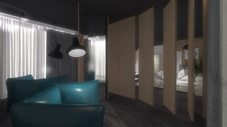 aranżacja sypialni ścinka oddzielająca z forniru turkusowe fotele