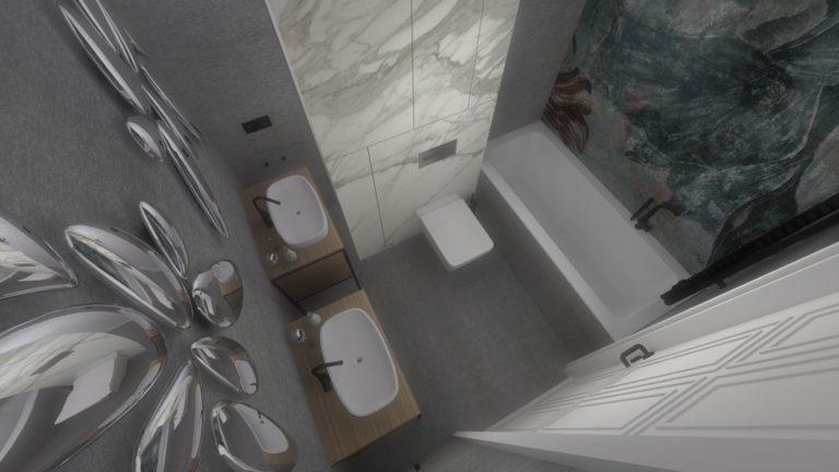 projekt nowoczesnej łazienki widok z góry