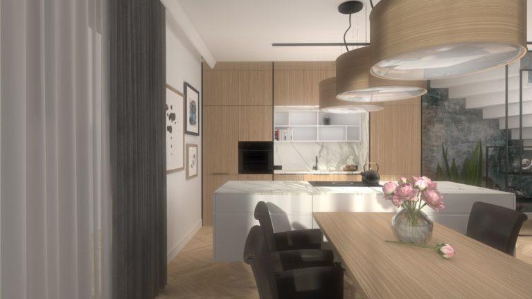 aranżacja apartamentu z duża wyspą kuchenną