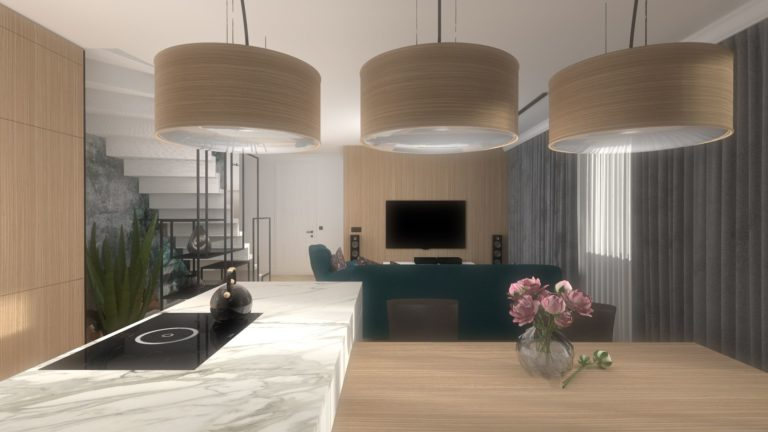 projekt salonu z aneksem kuchennym, nowoczesne lampy z forniru