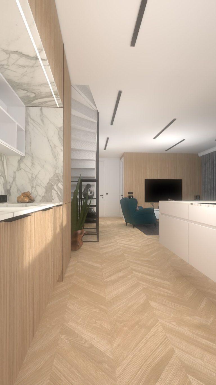 wizualizacja wystroju wnętrza apartamentu w Bydgoszczy