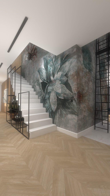 schody w apartamencie designerska tapeta