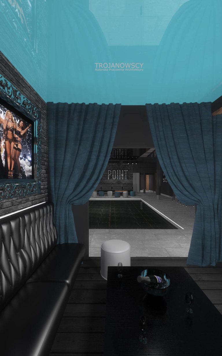 projekt Point Club widok na parkiet czarna kanapa