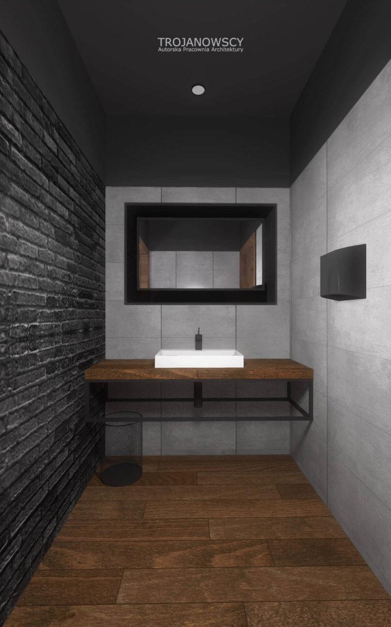 aranżacja nowoczesnej łazienki styl loftowy antracytowa cegła drewno