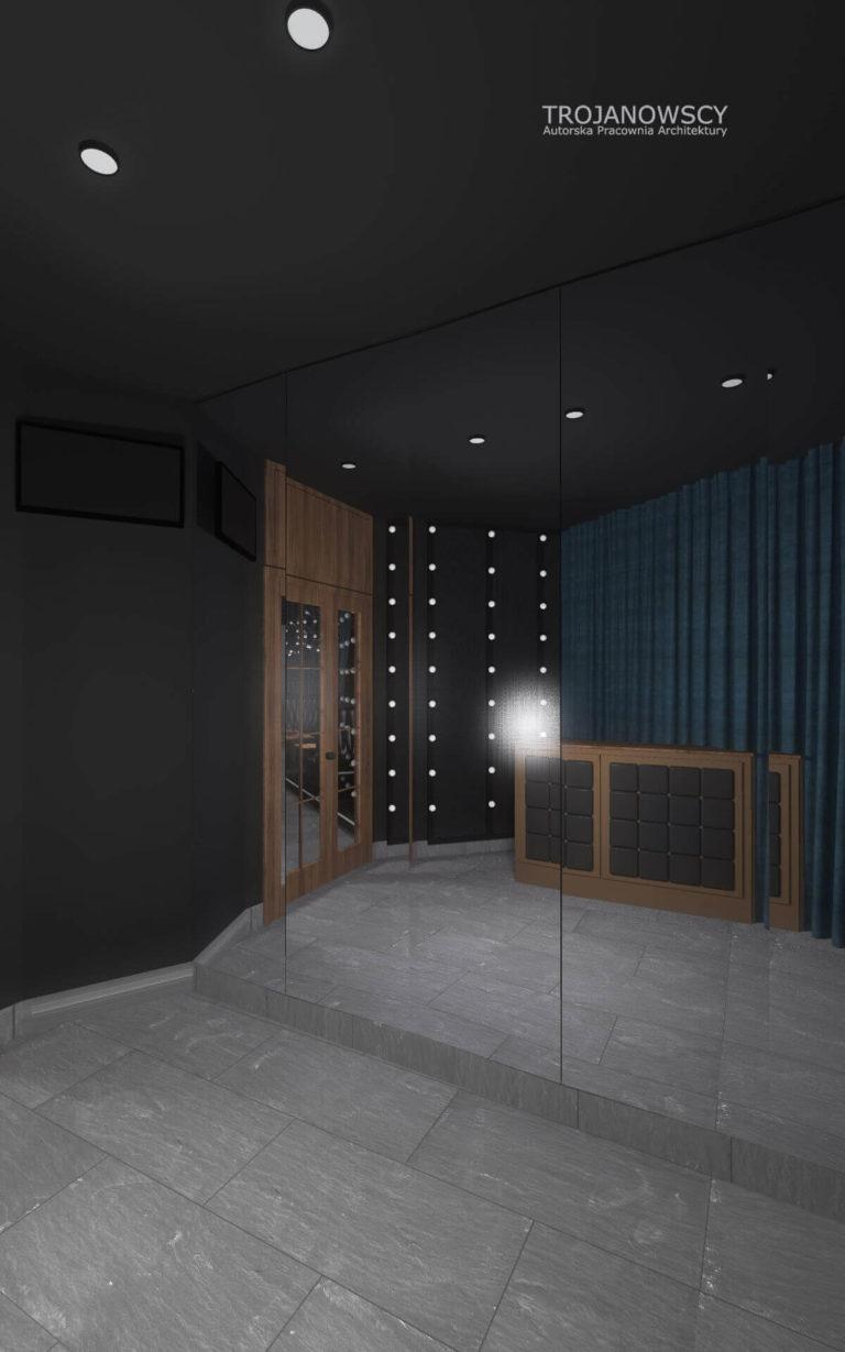 projekt klubu nocnego hall duże lustra