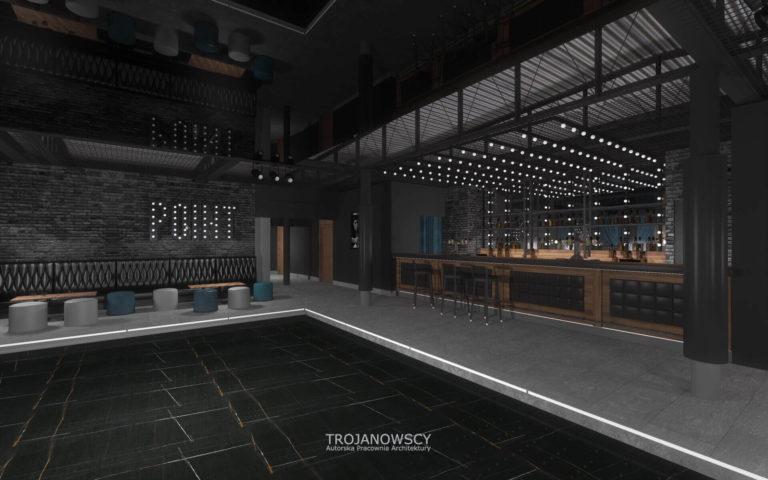 wnętrze w klubie Point Club wizualizacja