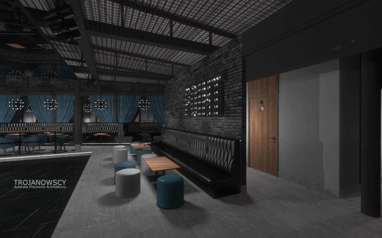nowoczesne loże w klubie tanecznym styl minimalistyczny