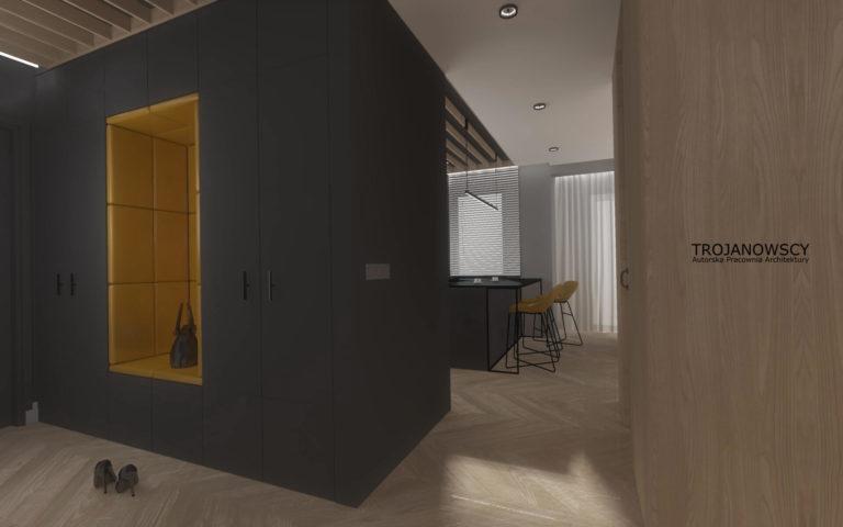 antracytowy korytarz z miodowymi dodatkami