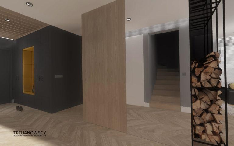 hall z dużym lustrem, czarny metalowy stojak na drewno