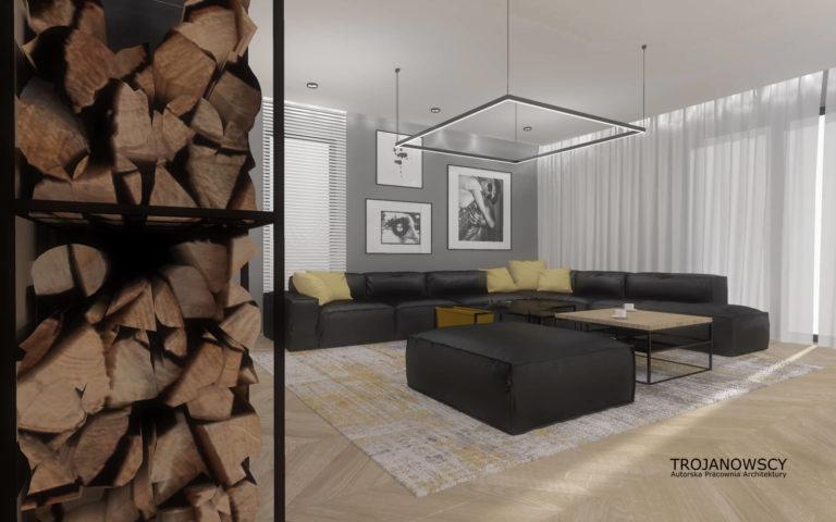 aranżacja nowoczesnego salonu, szare ściany, oryginalna kwadratowa szklana lampa