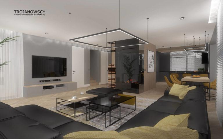minimalistyczny salon, czarne meble musztardowe dodatki