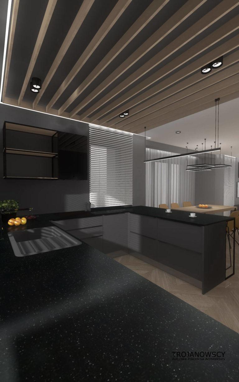 czarne blaty w kuchni, ciemny sufit