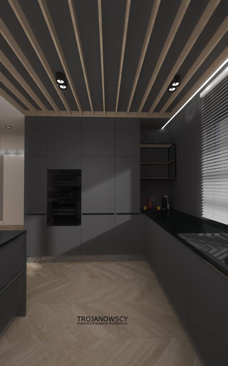 antracytowa kuchnia w mieszkaniu w Międzyrzeczu