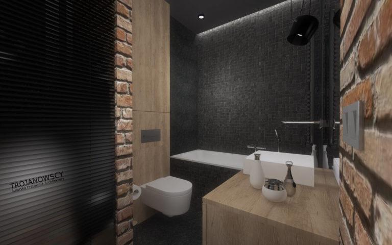 czarne ściany w łazience, cegła , jasne drewno