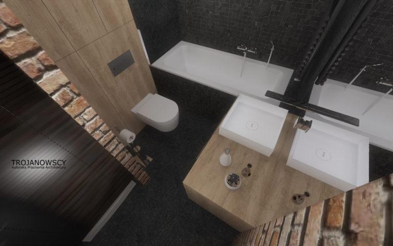 czarna łazienka z elementami jasnego drewna