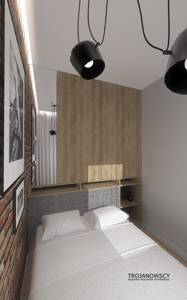 projekt małej sypialni w nowoczesnym mieszkaniu
