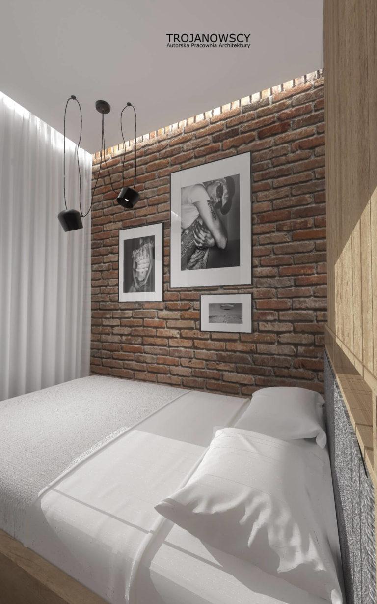 ściana z cegły w sypialni