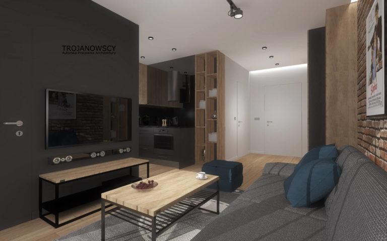 nowoczesny salon w mieszkaniu z czarną ścianą