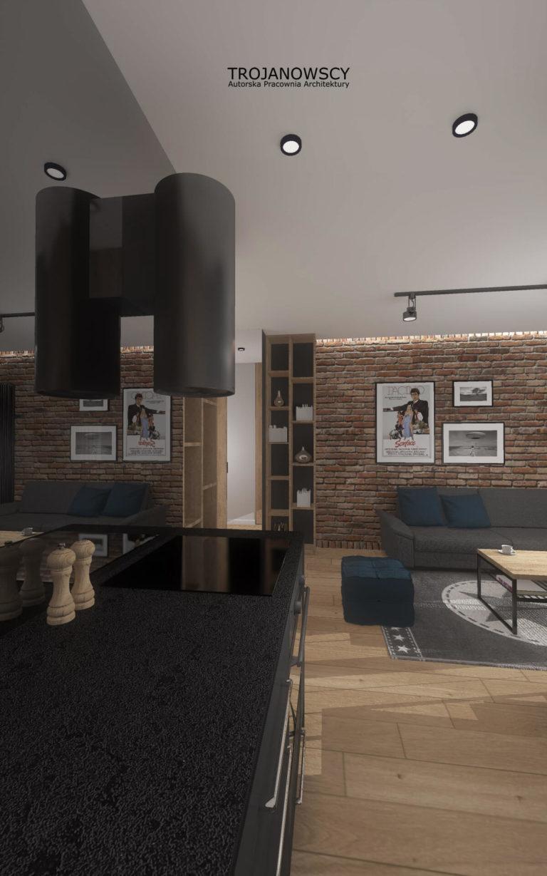 nowoczesna aranżacja kuchni połączonej z salonem