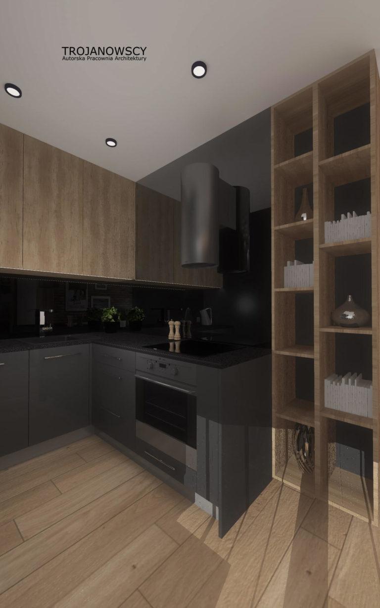 ciemne meble kuchenne w połączeniu z jasnym drewnem