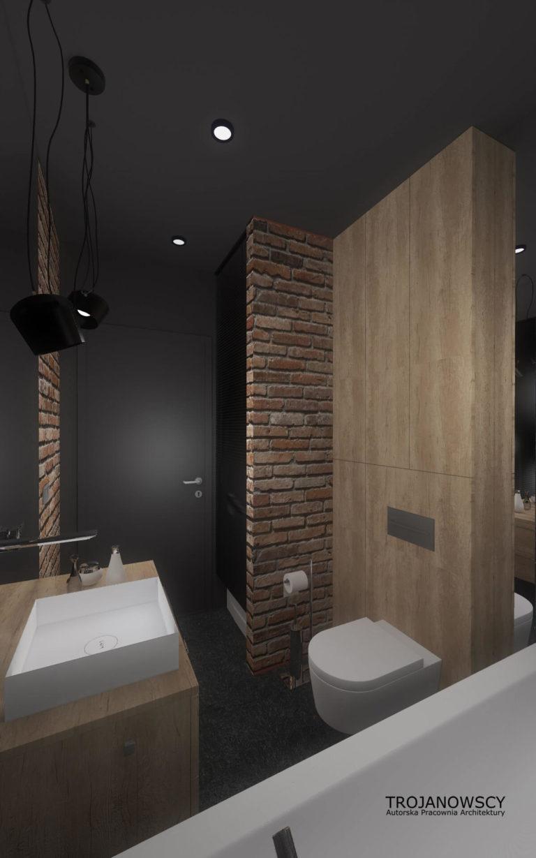 projekt małej łazienki w ciemnych kolorach