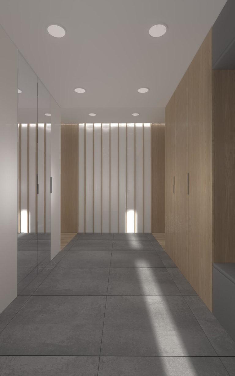 dobrze oświetlony korytarz