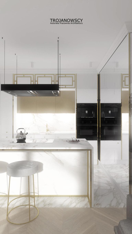 Apartament 100 m2 kuchnia z barkiem