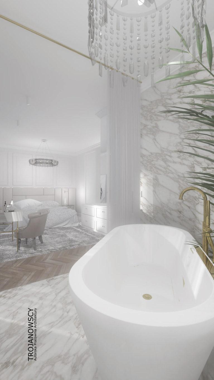 nowoczesna wanna w łazience połączonej z sypialnią