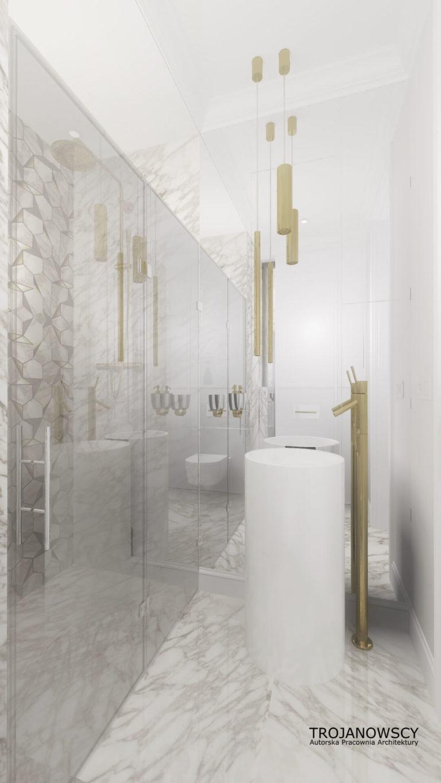 luksusowa jasna łazienka z oryginalną umywalką