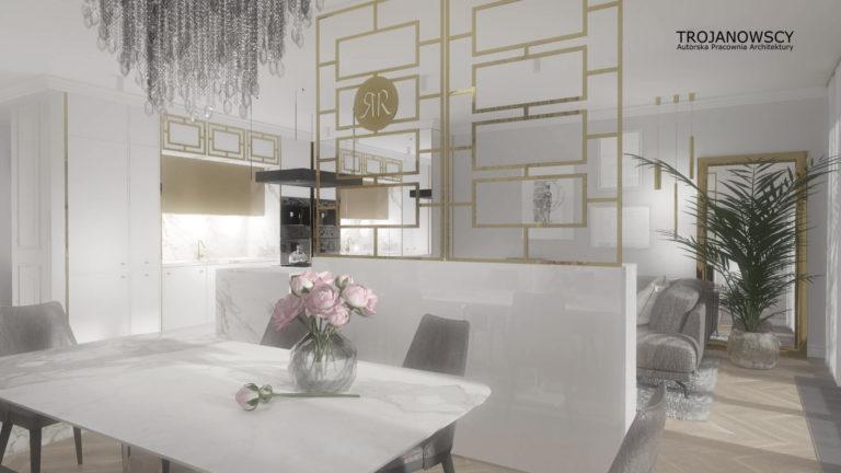jasne wnętrze apartamentu Nordic Heaven złota ścianka działowa