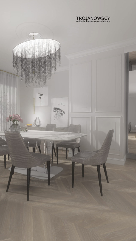 jadalnia w apartamencie z oryginalnym żyrandolem