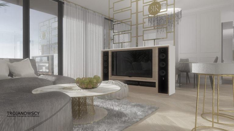 aranżacja nowoczesnego apartamentu, podłoga jodła francuska Dąb Chevron Elegance marki Jawor Parkiet