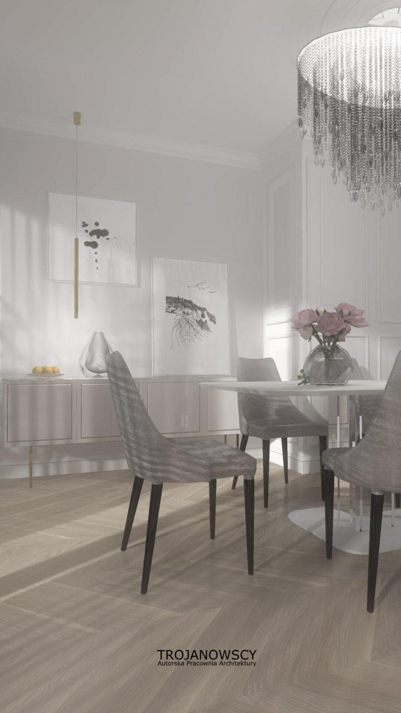 biała jadalnia w apartamencie