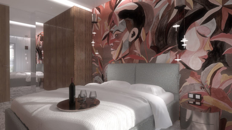 designerska tapeta w sypialni